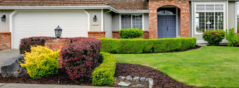 Home with trimmed shrubs and hedges in Jackson, MI.