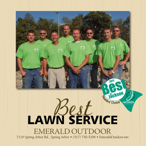 Emerald Outdoor, LLC team winning the Best of Jackson Lawn Care award.
