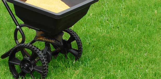 Emerald Outdoor, LLC fertilizer spreader sitting in a lawn at a home in Hanover.